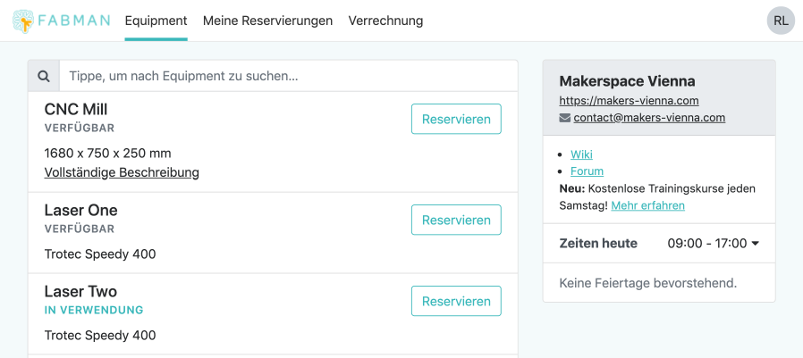 The member portal in German