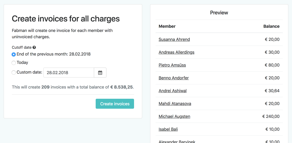 Simple invoicing with Fabman