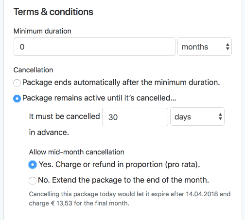 Flexible package terms and cancellation rules